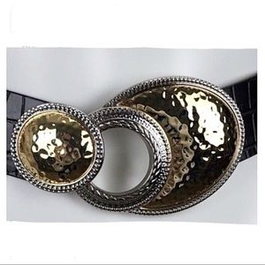 Chico's Black Leather Belt Silver & Gold Buckle